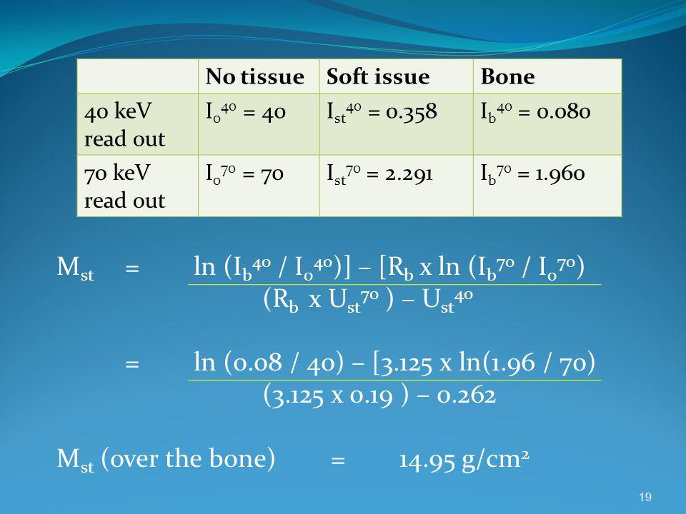 Mst = ln (Ib40 / I040)] – [Rb x ln (Ib70 / I070) (Rb x Ust70 ) – Ust40